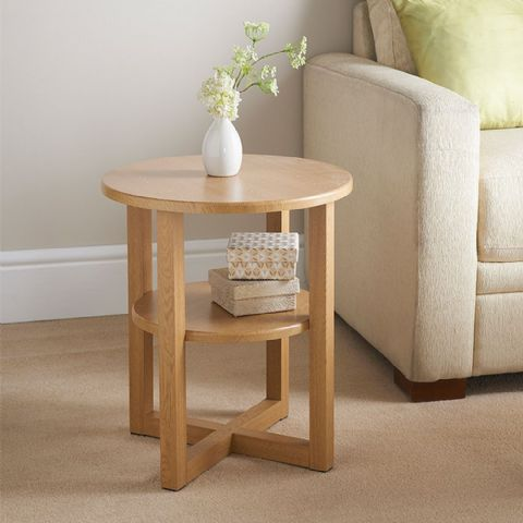 Oak Effect Round Side Table with Shelf